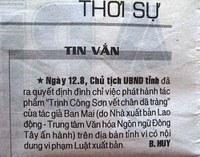 Cấm lưu hành Trịnh Công Sơn... ?