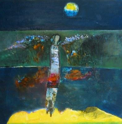 """Từ vườn khuya bước về, Oil on canvas, 30""""x30"""""""
