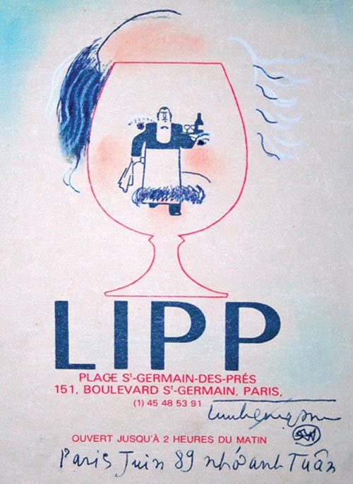 Chân dung nhà văn Nguyễn Tuân - ký họa trên tấm thực đơn nhà hàng Lipp ở Paris (1989)