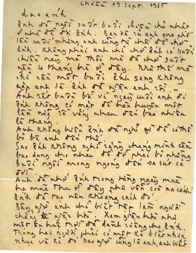 Thủ bút Trịnh Công Sơn trong thư gửi Dao Ánh 19.9.1965